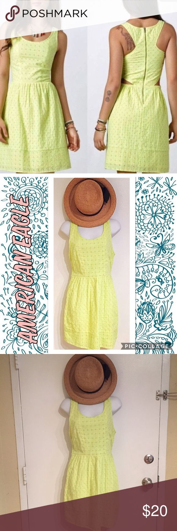 American Eagle Outfitters Yellow Eyelet Dress American Eagle Outfitters highlighter/neon yellow Eyelet dress. Has cutouts on the side/back. Size 4.  #americaneagle #americaneagleoutfitters #aeo #neon #yellow #highlighter #eyelet #bright #spring #dress #punkydoodle  No modeling Smoke free home I do discount bundles American Eagle Outfitters Dresses