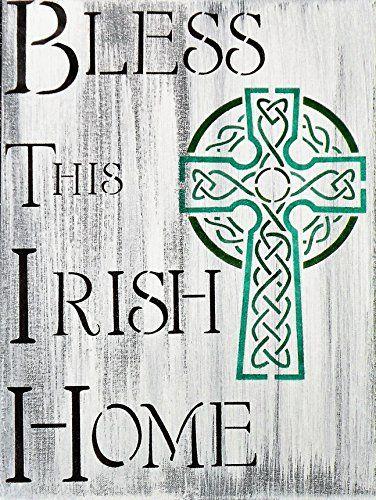Hand Painted Bless This Irish Home Sign, Irish Family Heritage Rustic Hand Made Sign, Handmade Celtic Cross Canvas Painting, Irish Faith Green Shamrock Saint Patrick's Day Painting