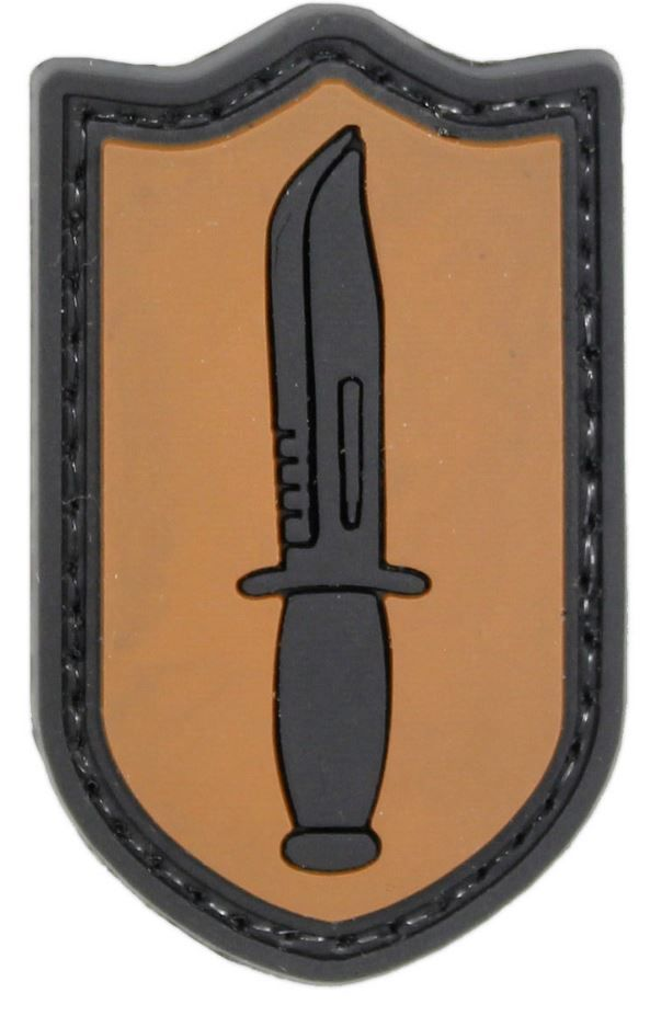 3D PVC Special Forces Dagger Military Tactical Army Airsoft Morale Patch Orange