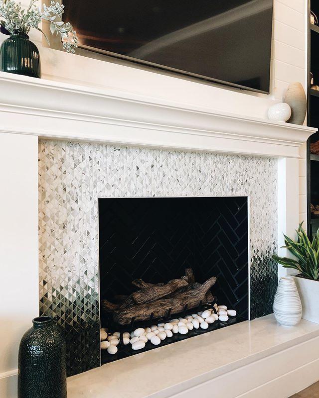 triangolo mosaic fireplace surround