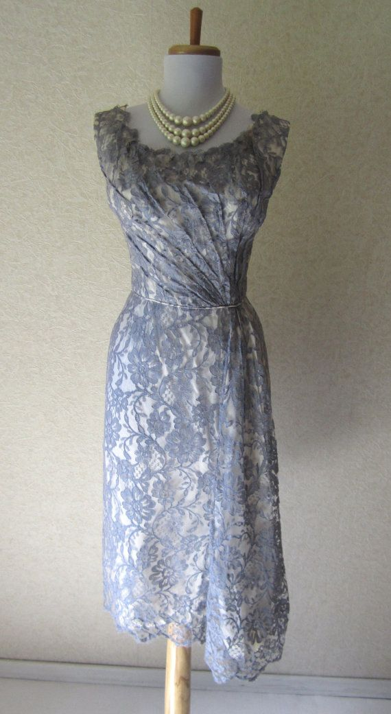 Vintage 1940s Gray Lace Dress Hourglass Cocktail Party