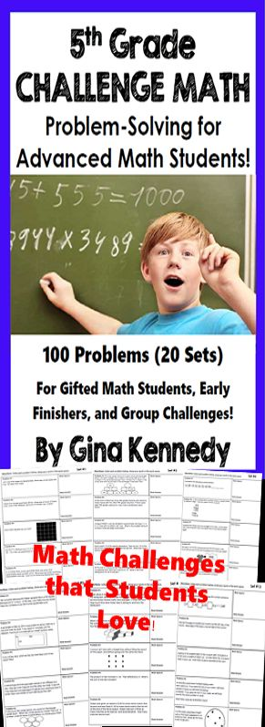 Twenty sets of challenging no-prep 5th Grade math problems that will challenge your most advanced math learners. The problems are great for early finishers, gifted students, or for whole group math problem solving challenges.   A great way to promote critical thinking problem solving skills and challenge all of your math learners.  I've included a wide variety of problems from challenging multi-step word problems to fun math logic.