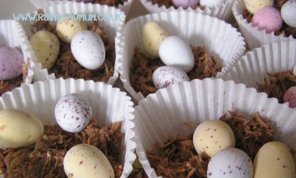 Two ingredient Chocolate Nests easy for toddlers and you to make together for Spring or Easter