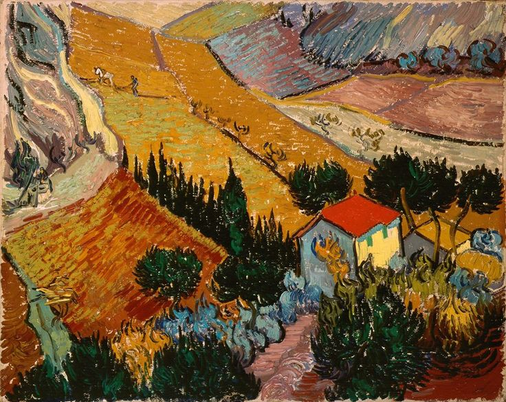 Van Gogh, Valley with Ploughman Seen from Above, December 1889.