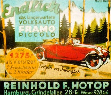 """""""At last, the long awaited people's car, the Framo Piccolo. 1275RM for a four-seater (seating two adults and two children). Each affordable!"""""""