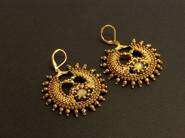 Hoop Earrings – Pure Bollywood gold bronze earrings – a unique product by DarkEyedJewels on DaWanda