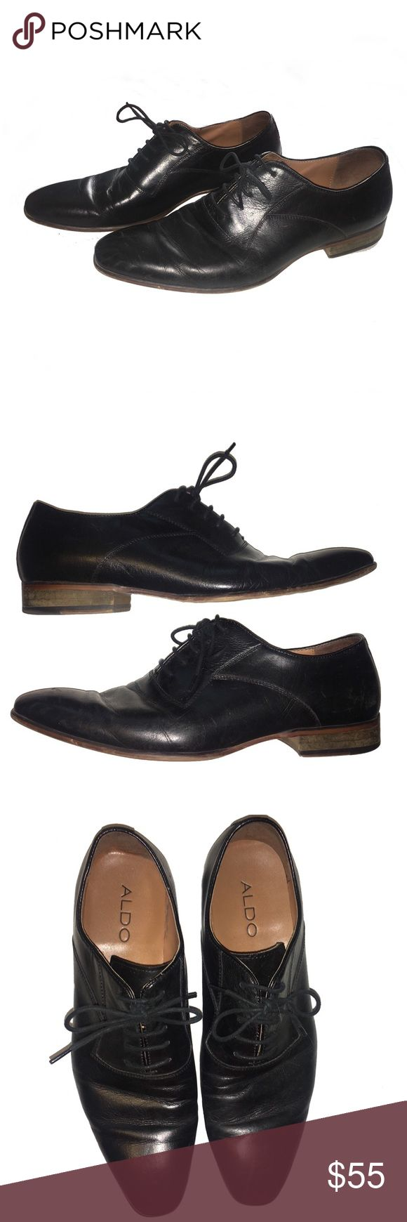 ALDO Men's Black Lace Oxford Dress Shoes Men's lace up oxford dress shoes Tan leather inside Black leather outside Laces Wooden heel Worn a couple of times otherwise great condition! Aldo Shoes Oxfords & Derbys