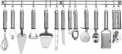#Unisex #Edelstahl #Küchenleiste mit #Küchenhelfer #Set #Oliver #13 #teilig #silber Die Edelstahl Küchenleiste ´´OLIVER´´ ist ein toller Blickfang und hält 12 Küchenhelfer für Sie griffbereit. Die Küchenleiste besteht aus poliertem Edelstahl und die Küchenhelfer präsentieren sich mit matt gebürsteten Griffen. - Küchenleiste: 70 cm - Küchenmesser: 22,2 cm - Käsehobel: 23,5 cm - Knoblauchpresse: 19 cm, - Sparschäler: 18 cm - Eislöffel: 20,5 cm - Schneebesen: 29 cm - Käsemesser: 26 cm…