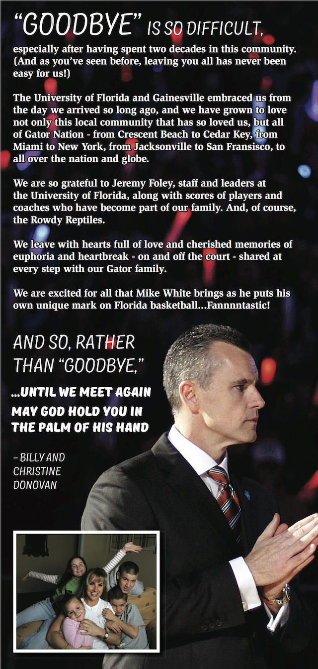 LOOK: Billy Donovan takes out full-page ad to thank Florida fans - CBSSports.com
