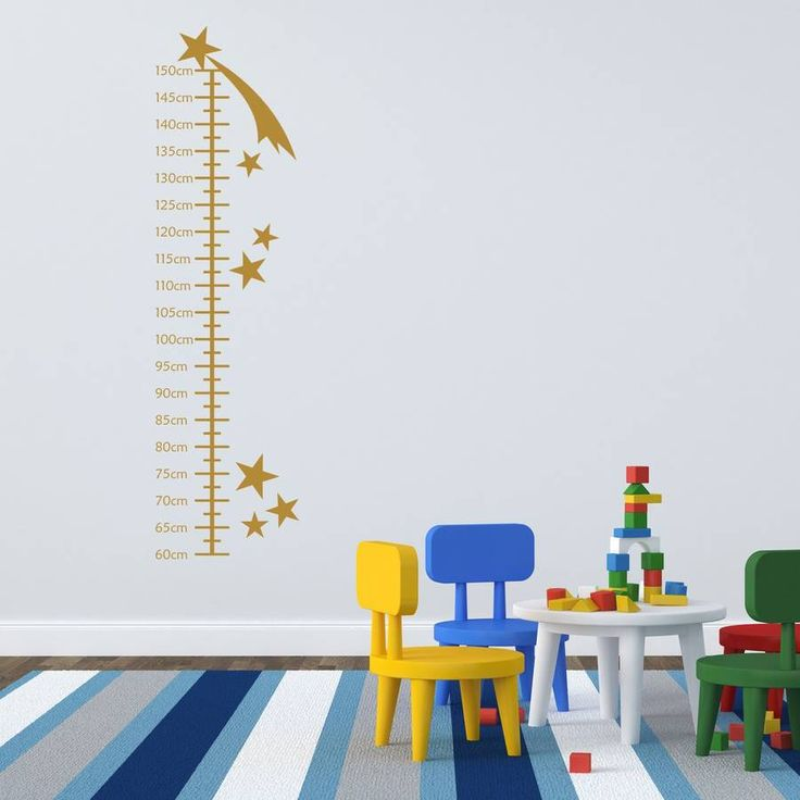 This shooting star growth chart wall sticker will brighten up any childs bedroom as well as provide a fun way to measure height.This height chart is available in one size any many different colours.The shooting stars height chart wall sticker is made from high quality vinyl that has a matt finish to reduce glare from lights and windows. The matt finish makes the wall sticker look like it has been painted on. Pre-applied application tape makes it easy to transfer this wall art to your…