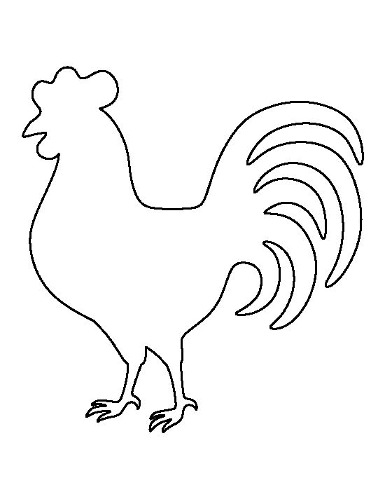 Rooster pattern. Use the printable outline for crafts, creating stencils, scrapbooking, and more. Free PDF template to download and print at http://patternuniverse.com/download/rooster-pattern/