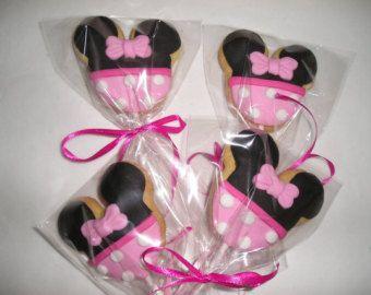 6 sucettes de Cookie de Minnie Mouse, biscuits au sucre Gourmet, fêtes d'anniversaire, les enfants de boulangerie