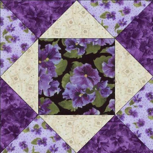 Debbie Beaves Lovely Purple Black Cream Floral Pansy Fabric Quilt Block KIT CUT | eBay
