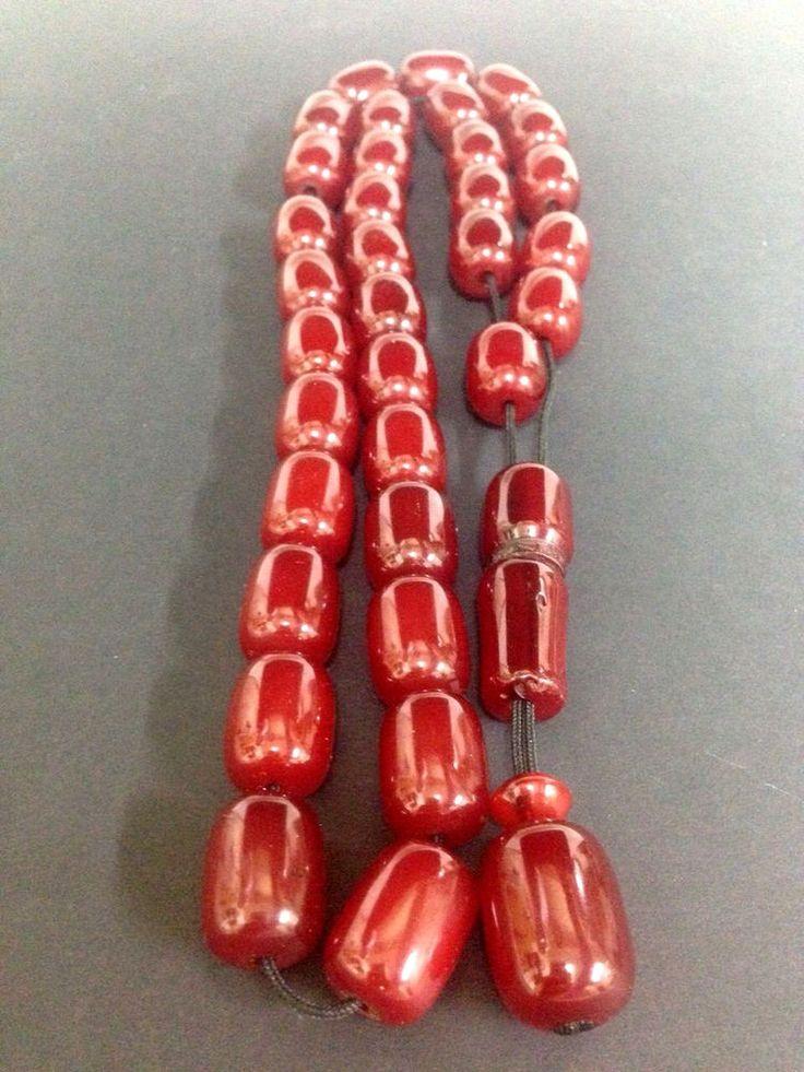 Antique Ottoman Faturan Cherry Amber Bakelite 33 Worry Bead Barrel Komboloi