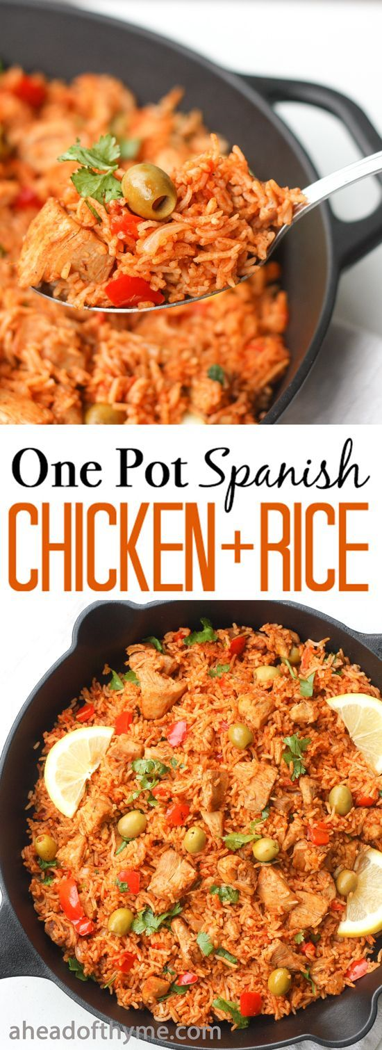 One Pot Spanish Chicken and Rice: Packed with flavour, real ingredients and vibrant colours, one pot Spanish chicken and rice is the perfect no fuss, no clean up weeknight meal. | http://aheadofthyme.com via /aheadofthyme/