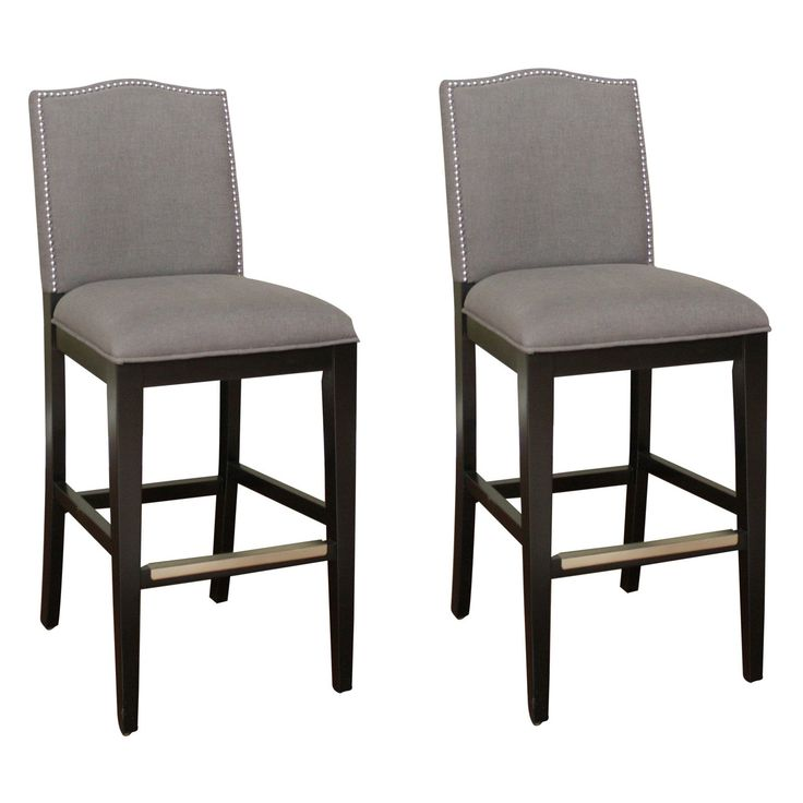 AHB Chase Tall Bar Stool Black with Smoke Linen Upholstery
