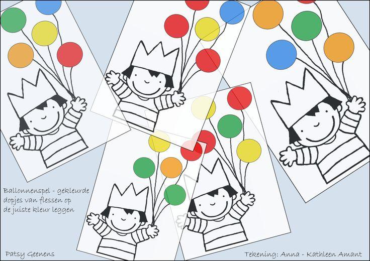 Ballonnenspel - gekleurde dopjes van PET-flessen op de ballonnen leggen met dezelfde kleur - kleuren oefenen.