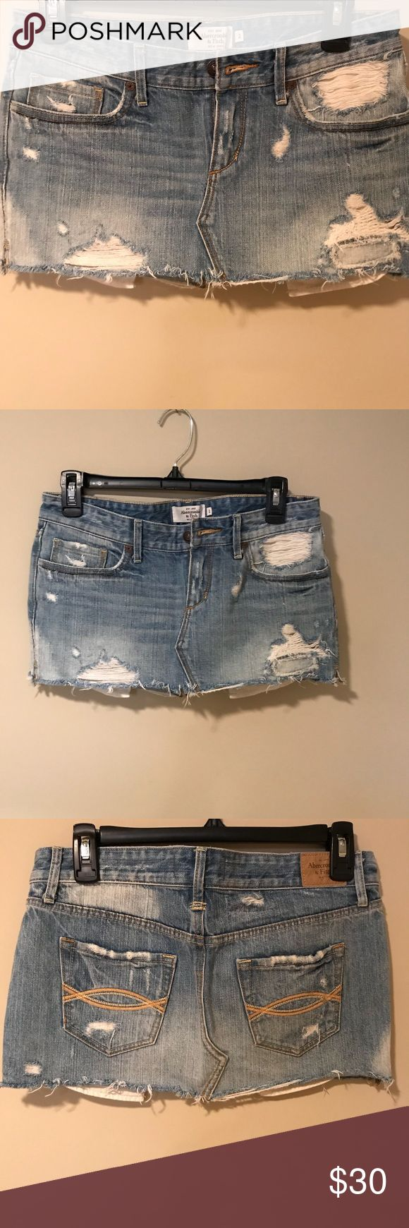 Abercrombie & Fitch Distressed Jean Skirt This skirt is like new.  Distressed is how it's made.  I probably wore it 3-4 times so there's no added wear or damage.  Size 2. Abercrombie & Fitch Skirts Mini