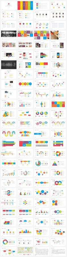 Look at all the pre designed slides with colorful infographics, charts, and much more.