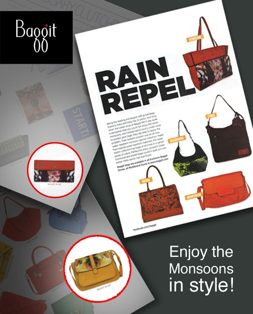 Cosmo's June issue covers Baggit's bright and awesome water-repellent accessories that you will absolutely adore!  Must-haves for this monsoon season, deck up your wardrobe with these amazing numbers and beat the dreary weather. Visit our exclusive stores or log on to www.baggit.com