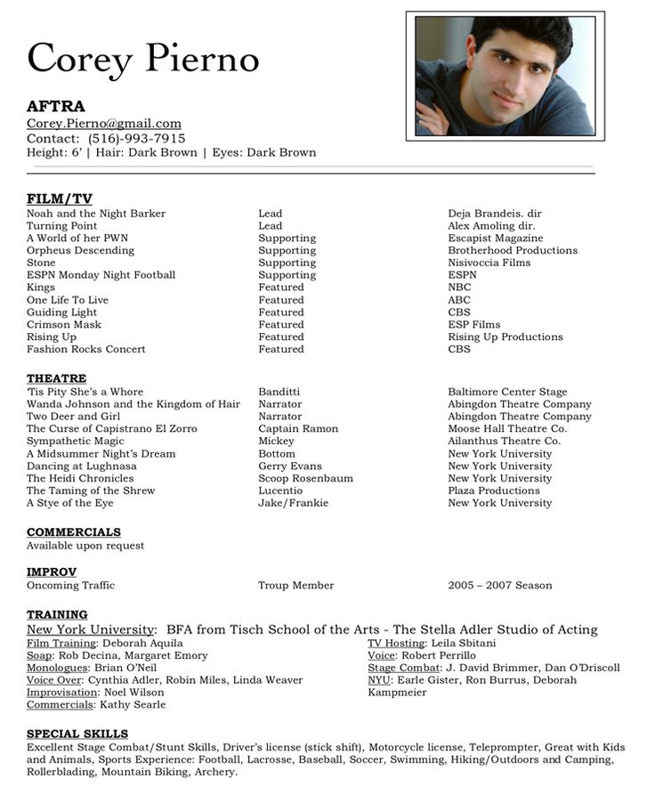 A good example of an acting resume!