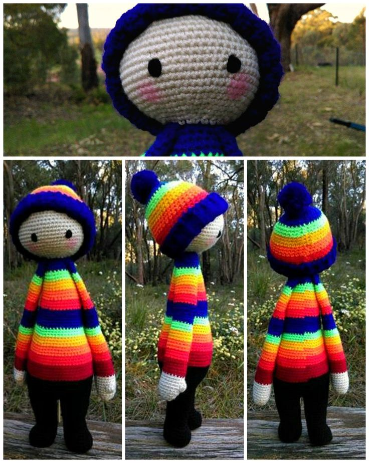 Rainbow Doll...Collage - with Face.   Project information and pattern link here;   http://www.ravelry.com/projects/LindaDavie/lalylala-paul-the-toadstool-15