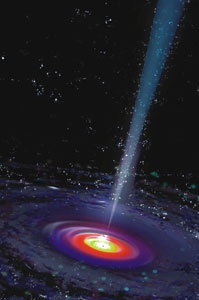 Supermassive blackhole. Spits out radiation beam to lightyears away.