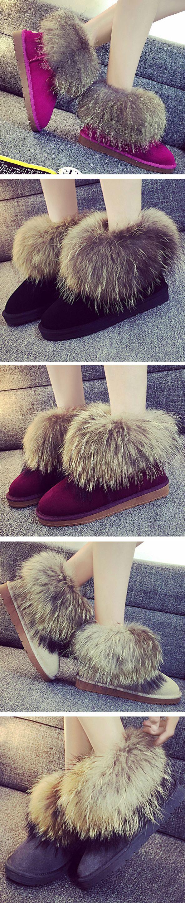 Fashion Fox Fur Snow Ankle Boots