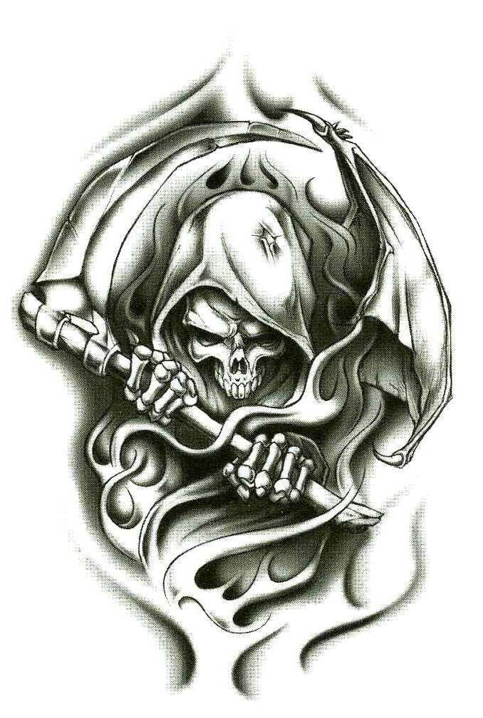 "Grim Reaper Wraith Temporary Body Art Tattoos 2.5"" x 3.5"""