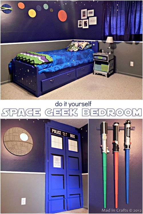 a space geek bedroom diy ideas mad in crafts dr who light sabors geek bedroom star wars