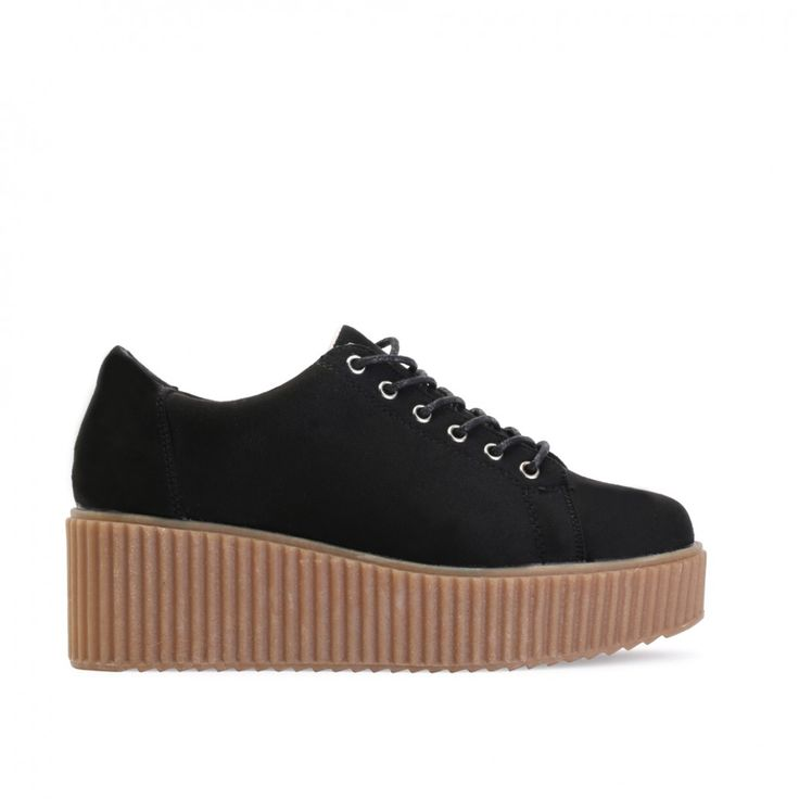 Niala Flatform Trainers in Black Faux Suede