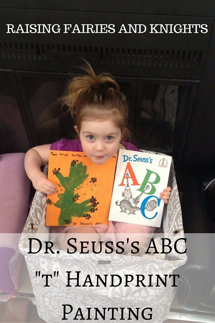 """Dr. Seuss's ABC - In celebration of Dr. Seuss's ABC book, we focused on the letter """"T"""" and did a canvas handprint painting to depict the scene."""