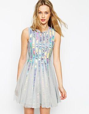 ASOS Holographic Sequin Strip Dress #kawaii
