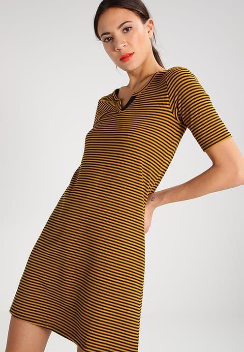 TWINTIP Sukienka dzianinowa - black/mustard - Zalando.pl
