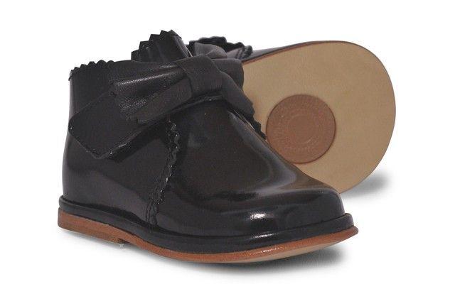 Baby Girls Black Leather Velcro Boot | Sharon