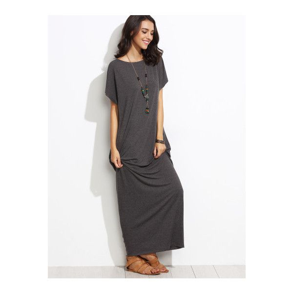 SheIn(sheinside) Heather Grey Batwing Cocoon Maxi Dress (50.980 COP) ❤ liked on Polyvore featuring dresses, grey, t shirt maxi dress, maxi dresses, short sleeve dress, short sleeve maxi dress and grey t shirt dress