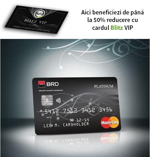 Astăzi îi urăm bun venit în cadrul proiectului Blitz VIP noului nostru partener BRD Groupe Societe Generale! De acum posesorii cardului vor beneficia de 50% reducere la comisionul de administrare anuală (în primul an) pentru cardurile de debit și credit GOLD BRD în lei și euro (MASTERCARD și VISA) 50% reducere la comisionul de administrare anuală în primul an pentru cardurile de debit PLATINUM în lei și euro și 30% reducere la comisionul de acordare pentru creditul Habitat cu dobândă…
