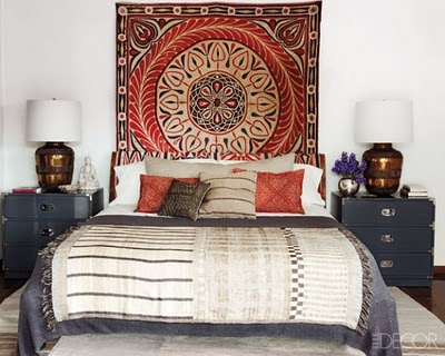 love the idea of taking clean modern designed furniture and adding some personality and texture to a space with fabrics - beautiful!: Decor, Interior, Wall Hanging, Ellen Pompeo, House, Bedrooms, Design, Bedroom Ideas