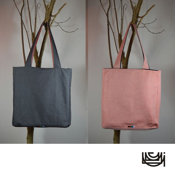 "Chunky Shoulder Tote Bag with Zipper Pockets ""Orange Graphite"""