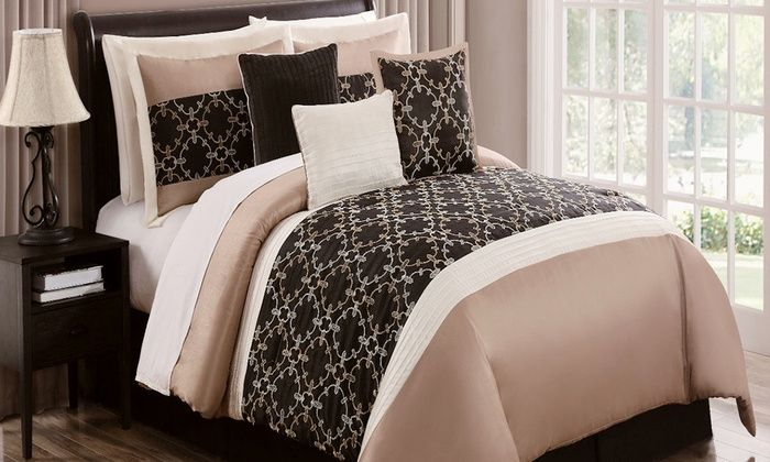 7 or 8 piece comforter set groupon boudoir ideas pinterest comforter sets and comforter. Black Bedroom Furniture Sets. Home Design Ideas