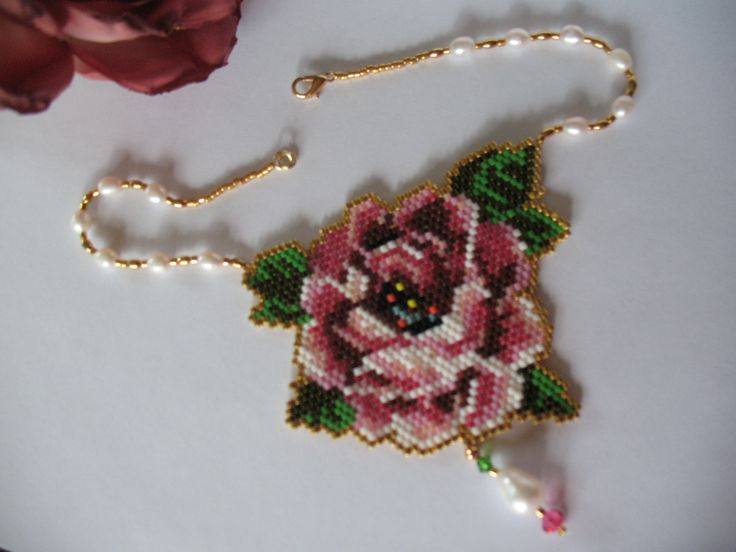 Pink rose- necklace..
