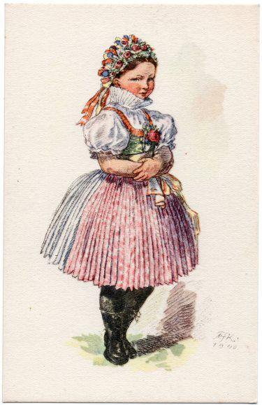 チェコのヴィンテージポストカード(MFK/民族衣装・花飾り) - Robin's Patch