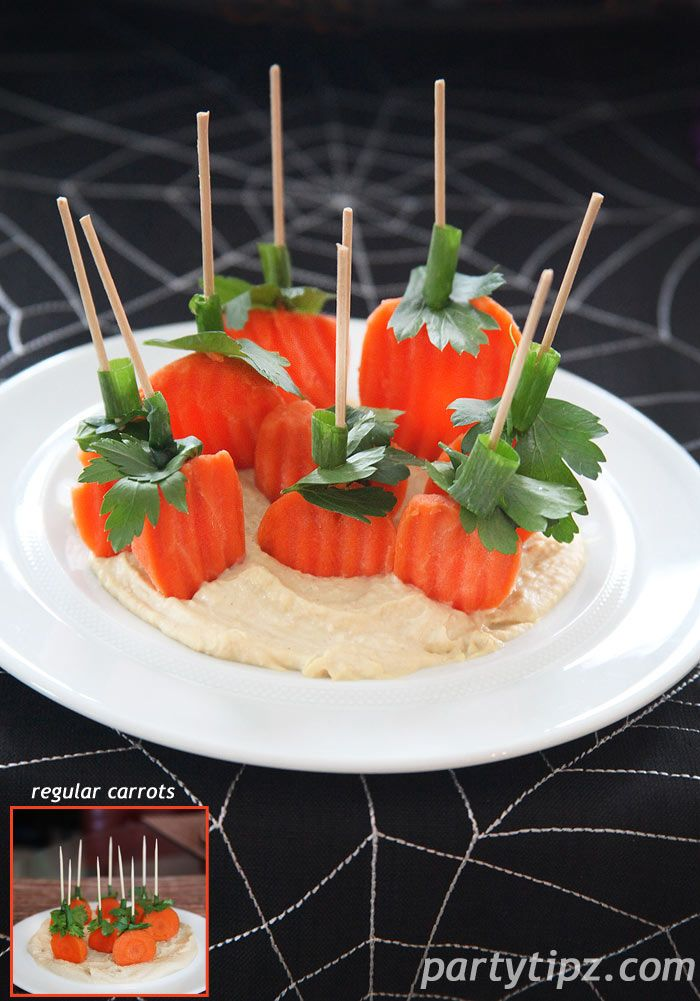 Last year I posted a Pumpkin Patch Hummus and Carrot Appetizer.  This year, I thought of doing the same appetizer but with pre-bagged and cut carrots.  They have ridges and are different shapes, kinda like pumpkins ;-) Still yummy but now you don't have to cut the carrots!!!!