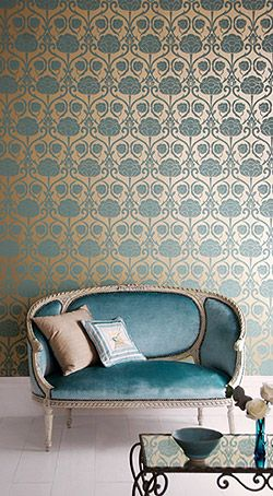 Vintage wallpaper, damask with metallic, blue and gold