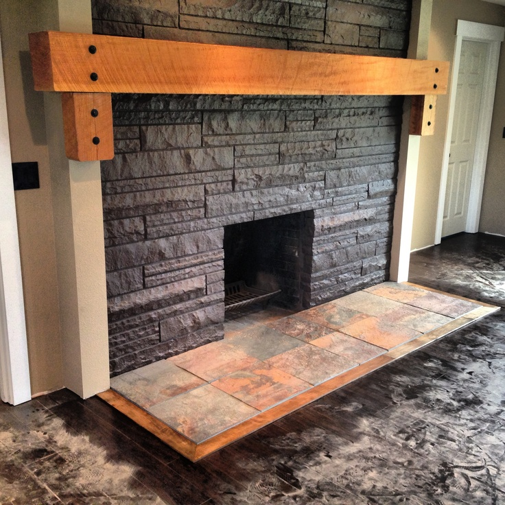 Fire place solid wood mantle slate hearth ideas for Floor hearth