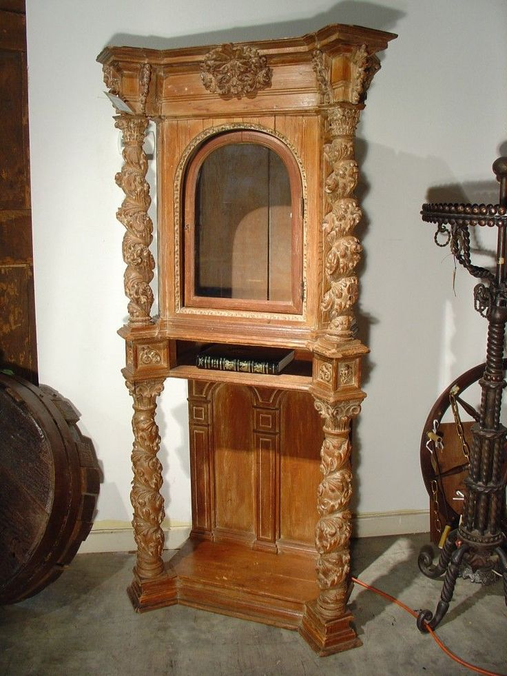 Antique Renaissance Style Reliquary Cabinet Of European Pine