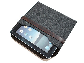 Stylish Leather and Felt Wool Case for iPad 3. Handmade in the U.S.A. by Joe V. Leather