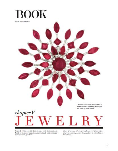 Jewelry chapter, cover page. #jewels #jewelry #earring #gold #rubies #Versace #AtelierVersace #fashion #woman #style #look
