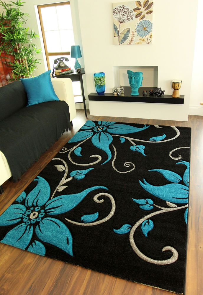 Large Black Teal Grey Floral Print Thick High Quality Modern Havana Rug For Sale #Modern