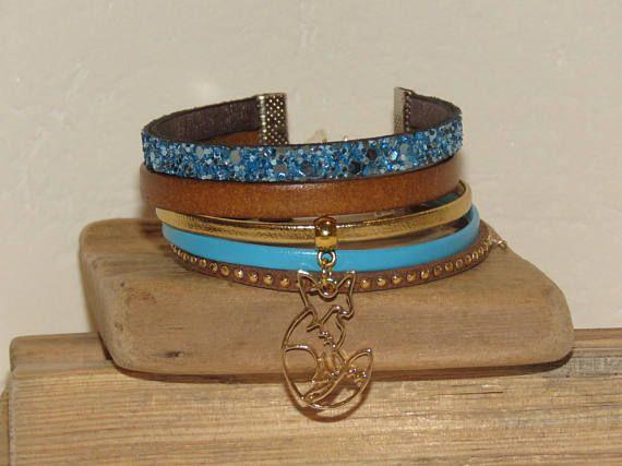 Bracelet Manchette marron brun doré turquoise cuir